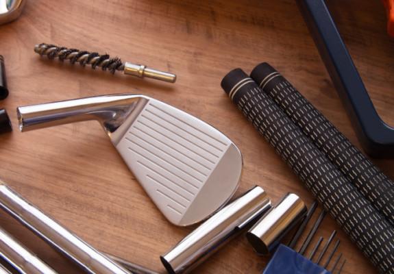 Golf club making or club assembly. Iron club heads and steel sha